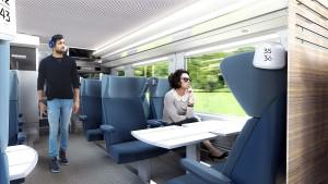 """Ce à quoi pourrait ressembler le train à 2 niveaux """"Omnéo Premium"""" qui remplacera la plupart des rames Corail."""
